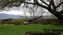 Chaves Castle, Portugal -  old cannons Stock Footage