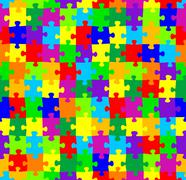 Seamless jigsaw puzzle pattern Stock Illustration