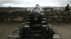 Chaves Castle, Portugal -  medieval cannon Stock Footage