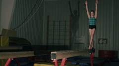 Gymnast Performing on Pommel Horse - Falls off Stock Footage