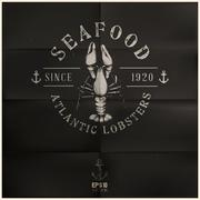 atlantic lobster badge - stock illustration