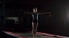 Young Female Gymnast Backflip Slow Motion Stock Footage