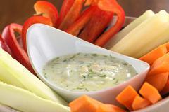 Vegetables with tzatziki Stock Photos