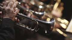 Stock video footage brass instruments, symphony orchestra, Stock Footage