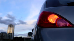 Flashing orange blinker light on rear lamp Stock Footage