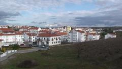 Panoramic on small town Miranda at Spanish - Portuguese border Stock Footage