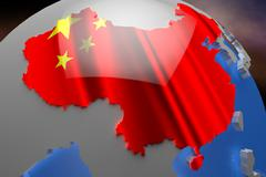 Stock Illustration of China Map on Continent 3D Illustration