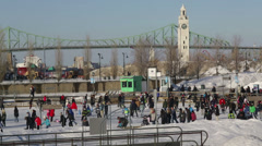 Outdoor Ice Skating Montreal Waterfront Stock Footage