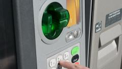 Adult Male Using ATM (Typing in PIN) Stock Footage