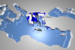 Stock Illustration of Greece Map on Continent