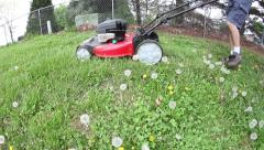 Time lapse mowing grass and dandelions Stock Footage