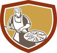 Pizza maker baking bread shield retro Stock Illustration