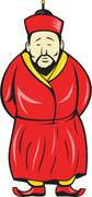 Chinese asian man wearing robe cartoon Stock Illustration