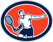 Tennis player racquet oval retro Stock Illustration