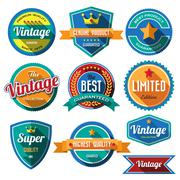 Set of retro vintage badges and labels. flat design with long shadow . Stock Illustration
