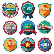 Stock Illustration of set of retro vintage badges and labels. flat design with long shadow .