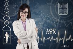 Female doctor with medical background Stock Illustration