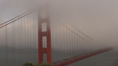 San Francisco Golden Gate Bridge fog day foggy aerial view cityscape landmark US Stock Footage