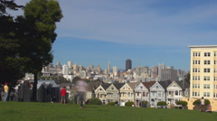 Timelapse Victorian Row Houses Painted Ladies Alamo Square San Francisco park US Stock Footage