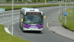 London Heathrow Airport bus approaching the airport, London, UK. Stock Footage