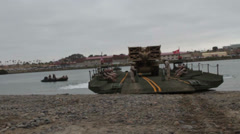 US-Navy - Marines & Engineers - Bridging Capabilities 01 - Bridge Tank 06 Stock Footage