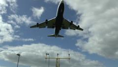 Boeing 747 on final approach to London Heathrow Airport, UK. Stock Footage