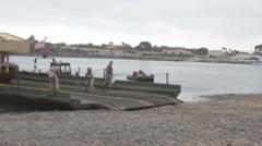 US-Navy - Marines & Engineers - Bridging Capabilities 03 - Pontoon Landing 01 Stock Footage
