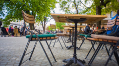 Big Cafe Outside Place In Old City Center Jib Shoot Stock Footage