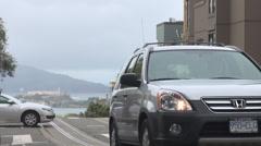 Aerial view Alcatraz Island traffic street San Francisco tourist travel tourism  Stock Footage