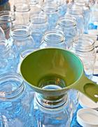 Clean Canning Jars and Funnel - stock photo