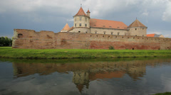 Beautiful view, old fortress reflect on lake surface Stock Footage