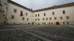 Inner court of old fortress, look up the sky Stock Footage