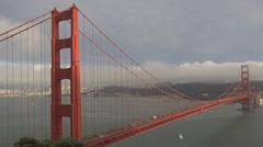 Golden gate bridge pacific ocean panorama historic San Francisco skyline city US Stock Footage