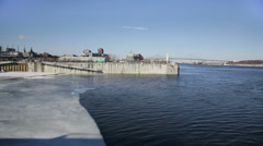 Frozen Montreal port basin ice Stock Footage