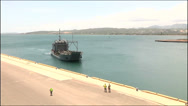 Stock Video Footage of US-Navy - Transportation Ship - Puerto Rico - Heading for Port 01