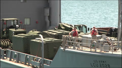 US-Navy - Transportation Ship - Puerto Rico - Heading for Port 02 Stock Footage