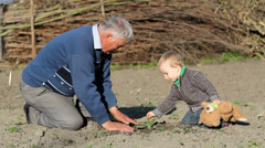Family love scenery, grandson and grandfather plant together a green cereal - stock footage