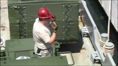 US-Navy - Transportation Ship - Puerto Rico - Unloading 09 Stock Footage