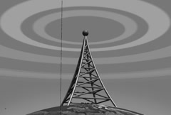 Vintage broadcast tower loop Old Film effect Stock Footage