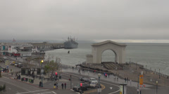 Panorama port San Francisco dock commute travel tourist attraction cloudy old US Stock Footage