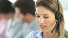 Sales representative woman with headset on Stock Footage