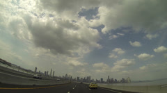 Skyscrapers at Cinta costera from the new road, Panama city, Panama. Stock Footage
