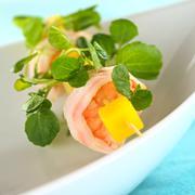 Shrimp with watercress and mango Stock Photos