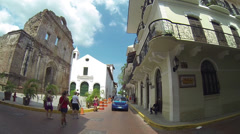 Stock Video Footage of Beautiful view of Spanish colonial houses and plants in Casco Viejo, Panama.