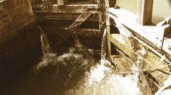 Floodgate on a canal in Strasbourg with retro filter effect Stock Footage