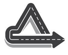 Looping triangular tarred highway Stock Illustration
