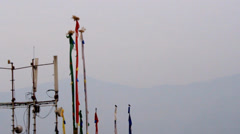 Slow motion buddhist prayer flags moving in the wind. Stock Footage