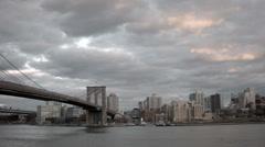 Brooklyn Bridge Sunset Stock Footage