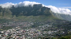 Table Mountain Panarama Table cloth cloud Cape Town - stock footage