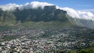 Stock Video Footage of Table Mountain Panarama Table cloth cloud Cape Town